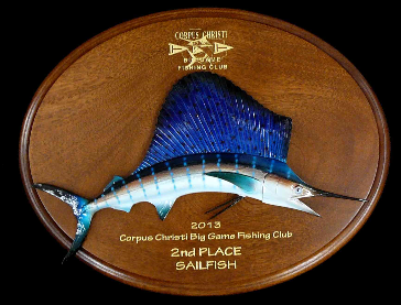 "16"" Sailfish Mahogany Plaque"