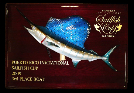 "20"" Sailfish on a Rosewood ""Piano Finish"" Plaque with Gold Laser Engraving"