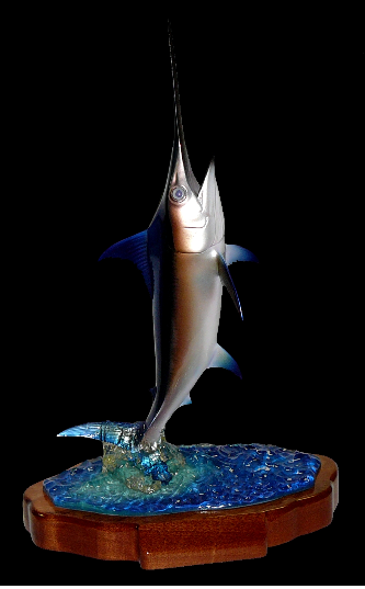 "24"" Swordfish on a Water Sculpture & Mahogany Base"
