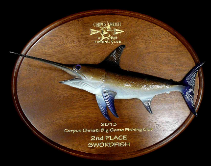 "18"" Swordfish on a Mahogany Plaque"