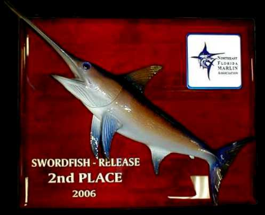 "18"" Swordfish on a Rosewood ""piano Finish"" Plaque"