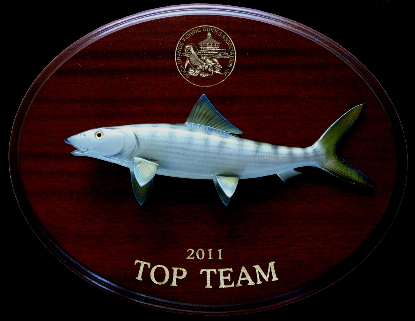 "14"" Bonefish on a Mahogany Plaque with Gold Laser Engraving"
