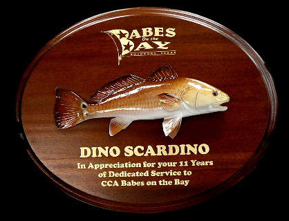 "12"" Redfish on a Mahogany Plaque with Gold Laser Engraving"
