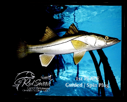 "14"" Snook on a Photo Plaque with Gold Laser Engraving"
