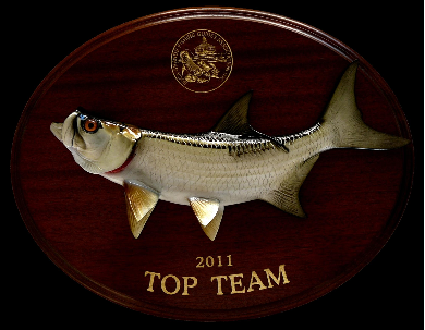 "16"" Tarpon on a Mahogany Plaque with Gold Laser Engraving"