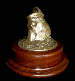 Bronze Tarpon Head Mount on a Rotating Mahogany Base