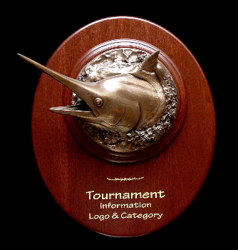 Bronze Marlin 3/4 Head Mount on a Mahogany Plaque with Gold Laser Engraving